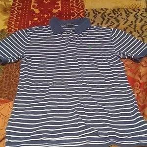 Boys Ralph Lauren Blue striped shirt sleeve Polo